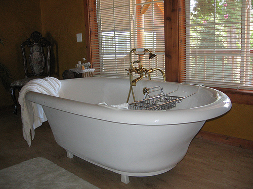 Large white freestanding tub with brass fixtures